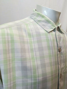 Tommy Bahama Men's Large Green Gray Plaid Short Sleeve Silk Button Down Shirt