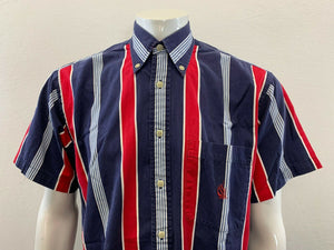 Nautica Vintage Mens Medium Blue Red Striped Cotton Short Sleeve Button Up Shirt