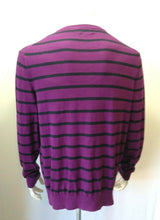 Load image into Gallery viewer, Nautica Men's Large Purple Blue Striped Long Sleeve Cotton V Neck Sweater