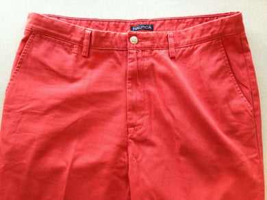 Nautica Men's 36X29 Red Straight Leg Flat Front Zipper Fly Chino Pants