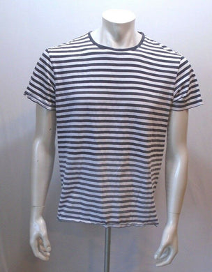 BENCH Men's Black Gray Striped Short Sleeve Crew Neck Cotton T Shirt Size Large