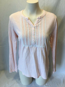 L.L. Bean Women's V Neck Ruffled Long Sleeve Peach Striped Shirt Size M Petite