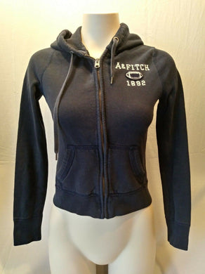 Abercrombie and Fitch Dark Blue Long Sleeve Full Zip Hooded Sweatshirt Size S
