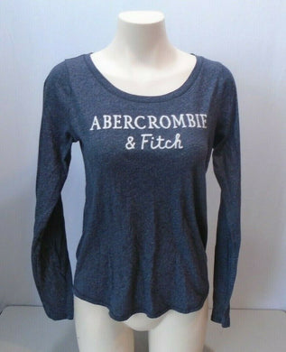 Abercrombie & Fitch Blue Spell Out Long Sleeve Women's Scoop Neck Shirt Size M