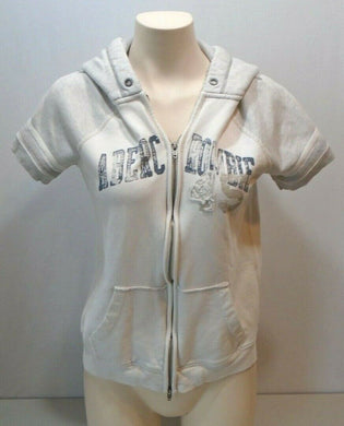 Abercrombie and Fitch White Gray Baseball Style Full Zip Hooded Sweatshirt Sz L