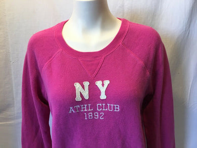 Abercrombie and Fitch Pink Crew Neck Long Sleeve Embroidered Sweatshirt Size L