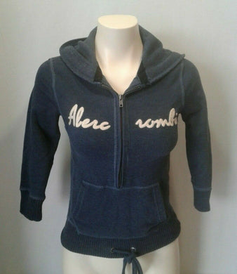 Abercrombie and Fitch Hoodie Blue 1/2 Zip 3/4 Sleeve Hooded Sweatshirt Size S