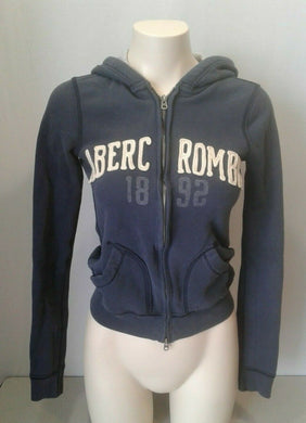 Abercrombie Hoodie Girls Blue Long Sleeve Full Zip Hooded Sweatshirt Jacket Sz L