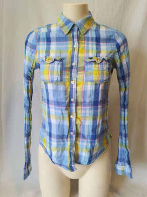 Abercrombie and Fitch Women's Plaid Long Sleeve Button Down Casual Shirt Size S