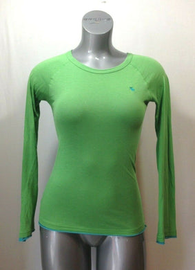 Abercrombie Girls Size Large Green Cotton Long Sleeve Crew Neck T Shirt