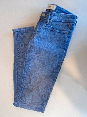 Abercrombie and Fitch Skinny Leg Low Rise Paisley Print Women's Blue Jeans Sz 24