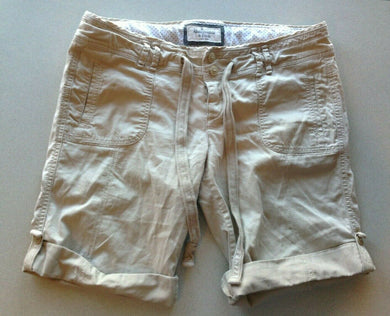 Abercrombie & Fitch Beige Stretch Womens Size 4 Low Rise Casual Roll Cuff Shorts