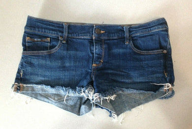 Abercrombie & Fitch Women's 8 Perfect Stretch Low Rise Denim Cut Off Shorts