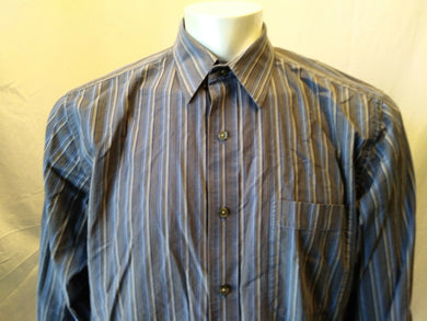 Eddie Bauer Classic Fit Casual Blue Tan Striped Button Down L/S Shirt Size L