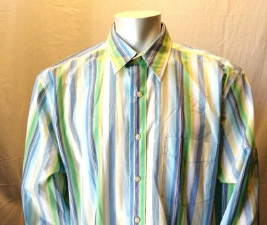 Eddie Bauer Striped Wrinkle Stain-Resistant L/S Button Down Shirt Size XL Tall
