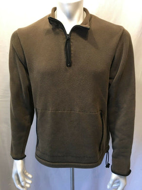Eddie Bauer Men's Brown Cotton Sweater 1/2 Zip Pullover Size Medium