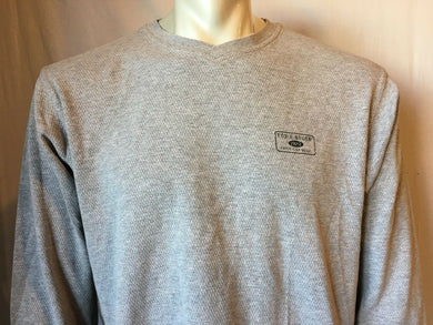 Eddie Bauer V-Neck Gray Long Sleeve Men's Cotton Shirt Size Medium