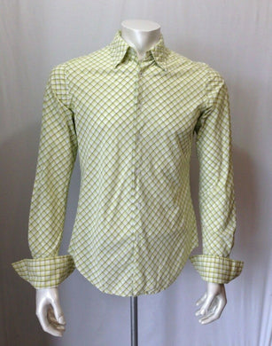 GUESS JEANS Men's Size Small Green Diamond Patterned Men's Button Down Shirt