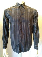Load image into Gallery viewer, GUESS JEANS Men's Black Striped Long Sleeve Button Front Casual Shirt Size S/P