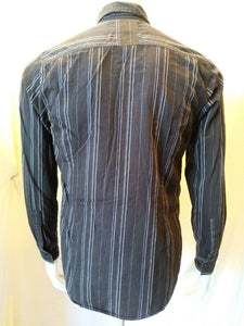GUESS JEANS Men's Black Striped Long Sleeve Button Front Casual Shirt Size S/P