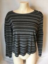 Load image into Gallery viewer, Lauren Ralph Lauren Women's Grey Black Striped 3/4 Sleeve Shirt Top Size Large