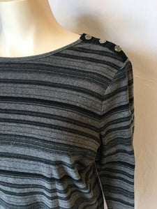 Lauren Ralph Lauren Women's Grey Black Striped 3/4 Sleeve Shirt Top Size Large