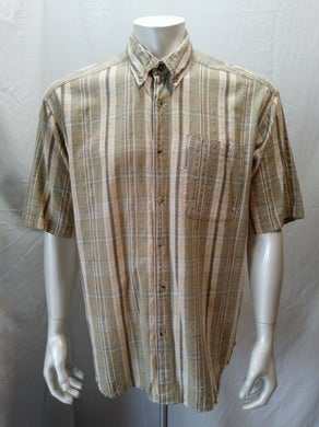 Columbia Sportswear Men's Casual Short Sleeve 100% Cotton Green Plaid Size L