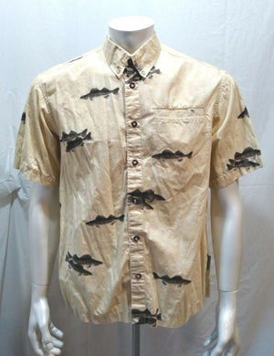Columbia River Lodge Yellow Short Sleeve Fish Pattern Button Down Shirt Size M