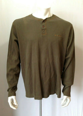 Columbia Men's Green Long Sleeve Waffle 100% Cotton Henley Shirt Size Large