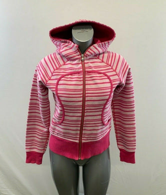 Lululemon Women's Size 8 Pink Striped Long Sleeve Full Zip Up Hoodie Jacket