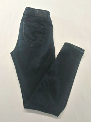 Silver Jeans Women's Size 27/31 Black Skinny Leg Low Rise Denim Suki Jeggings