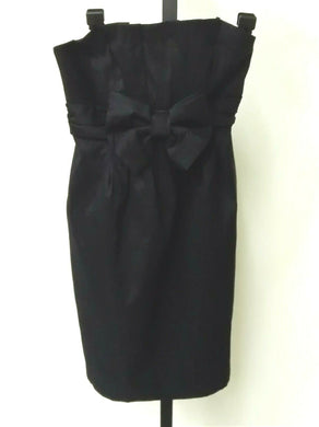 Jessica McClintock Black Satin Strapless Bow Tie Dress Women's Size 2