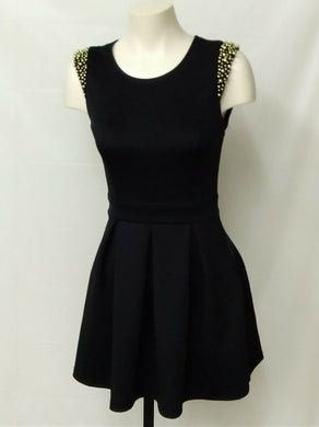 Womens' XS black dress with gold beads on cap shoulders key hole back