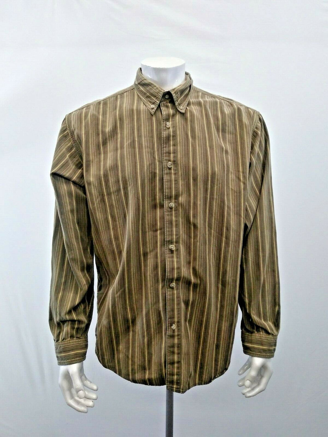 Columbia Mens Size XL Green Brown Striped Long Sleeve Button Down Shirt
