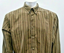 Load image into Gallery viewer, Columbia Mens Size XL Green Brown Striped Long Sleeve Button Down Shirt