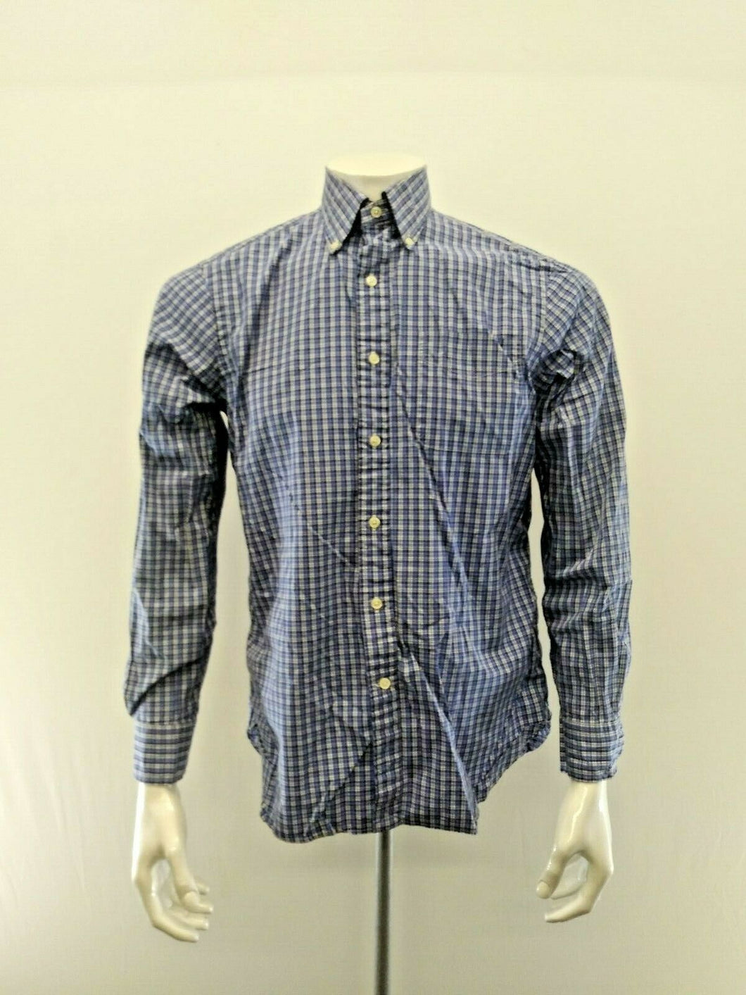Ralph Lauren Shirt Men's Medium Poplin Blue Plaid Long Sleeve Button Down