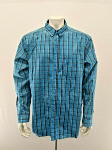 Columbia Button Down Shirt Men's XXL Blue Yellow Plaid Long Sleeve Cotton Casual