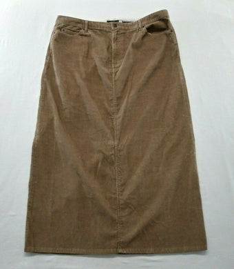 Eddie Bauer Womens 20 Tall Brown Corduroy Long Stretch Pencil Skirt
