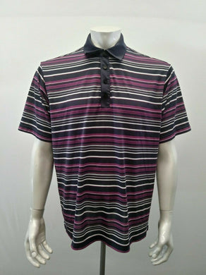 Adidas Golf Polo Men's Large Gray Purple Stripe Polyester Climalite Polo Shirt
