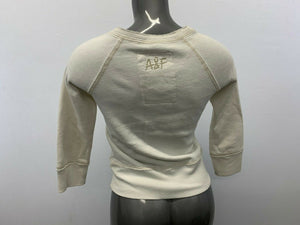 Abercrombie & Fitch Women's Large White 3/4 Sleeve Henley Neck Sweatshirt