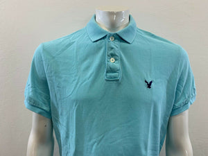 American Eagle Athletic Fit Mens Cotton Short Sleeve Blue Pique Polo Shirt