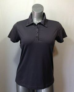 Adidas Women's Medium Gray Striped Climacool Polyester Blend Golf Polo Shirt Top