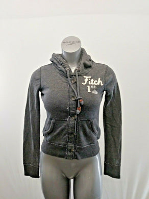 Abercrombie & Fitch Hoodie Womens M Gray Long Sleeve Button Up Hooded Sweatshirt