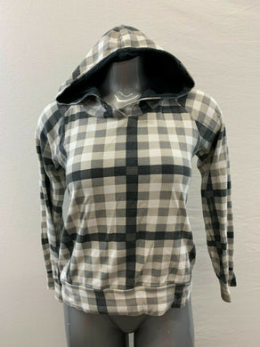 Bench Women's Large Beige Black Checkered Long Sleeve Fitted Full Zip Hoodie