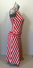 Load image into Gallery viewer, Joseph Ribkoff Women's Red White Striped V Neck Sleeveless Wrap Dress