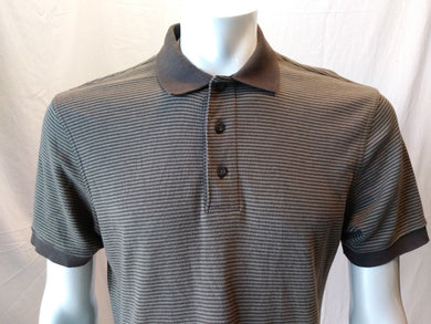 Eddie Bauer Cotton Short Sleeve Brown Green Striped Men's Polo Shirt Size Small