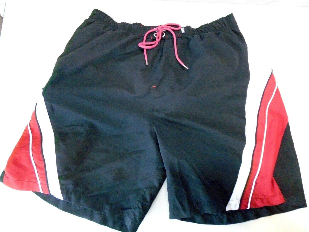 Roots Canada Black Red Mesh Lined Drawstring Waist Swim Shorts Size L/G (36-38)