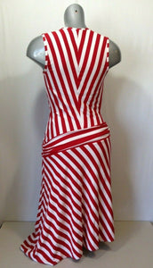Joseph Ribkoff Women's Red White Striped V Neck Sleeveless Wrap Dress