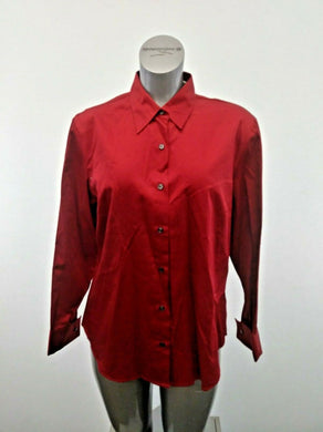 Eddie Bauer Shirt New Womens XL Red Cotton Long Sleeve Button Up Top