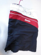 Load image into Gallery viewer, Roots Canada Black Red Mesh Lined Drawstring Waist Swim Shorts Size L/G (36-38)